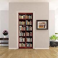 QHZSFF 3D ウォールステッカー ヴィンテージの本棚 環境保護ステッカー紙、装飾壁紙、DIY装飾、剥離ステッカー、防水、リビングルームと寝室のドア用 88 x 200 cm