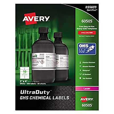 "Avery UltraDuty GHS Chemical Labels for Laser Printers, Waterproof, UV Resistant, 2"" x 4"", 500 Pack (60505), White"