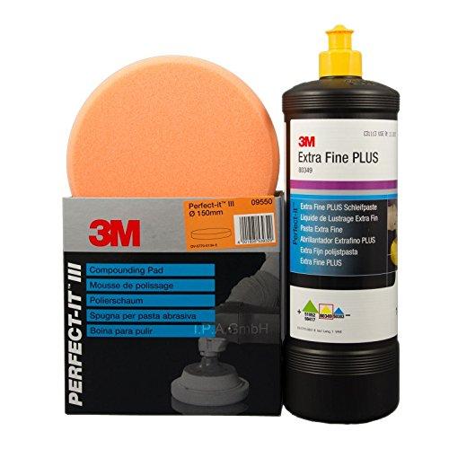 3M lucidatura Extra Fine PLUS 803491litro + schiuma lucidatura spugna per lucidare 09550
