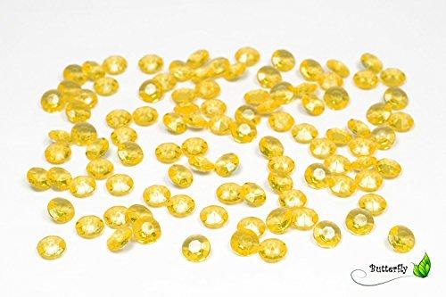 Creativery 100 Dekosteine Diamanten 12mm (gelb 645) // Deko-Steine Diamanten 1,2 cm Streudeko Tischdeko Steine Diamonds Kristall Hochzeit Streuteile