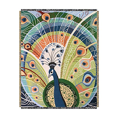AWSAD Manta Toalla de Sofá de Pavo Real Retro Viento Manta de Chal Manta de Sofá Tapiz de Decoración de Pared, 1 Talla (Color : A, Size : 125cmx150cm)