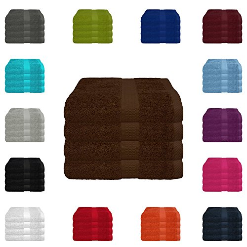 4 tlg. Handtuch-Set in vielen Farben - 4 Handtücher 50x100 cm - Farbe schokobraun