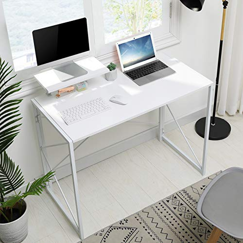 MSmask Folding Desk, Computer Desk with Movable Monitor Stand, Simple Small Desk Study Writing Workstation for Home Office (White+Stand)
