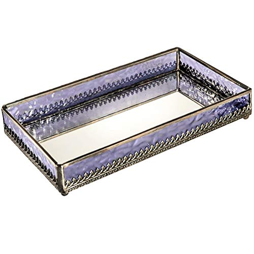 Purple Glass Tray Mirrored Bottom Decorative Bathroom Vanity Cosmetic Makeup Organizer Jewelry Display Perfume Holder Dresser Home Décor Candle Tray Gift for Woman J Devlin Tra 127