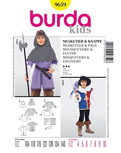 Burda 9659 Schnittmuster Kostüm Fasching Karneval Musketier & Knappe (kids, Gr. 104-140) – Level 3 mittel