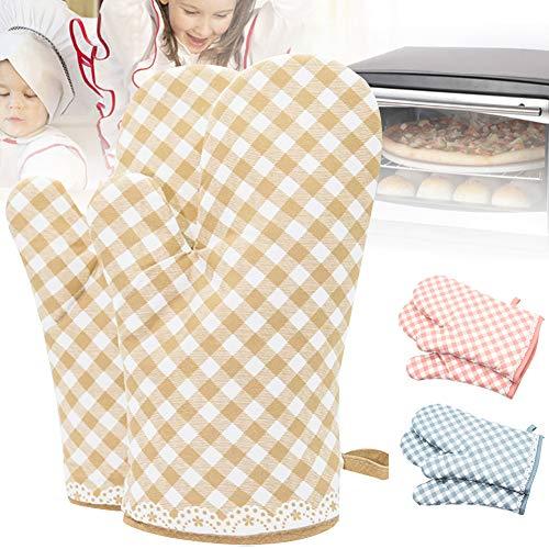 WanBeauty 2 guantes de cocina a cuadros antideslizantes resistentes al calor para horno de microondas para barbacoa, cocina, hornear, parrilla, microondas, barbacoa amarilla