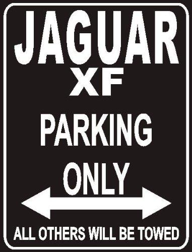 INDIGOS UG - Parking Only - Jaguar Xf - Garage/Carport - Parkplatzschild 32x24 cm schwarz/Silber - Alu-Dibond - Folienbeschriftung
