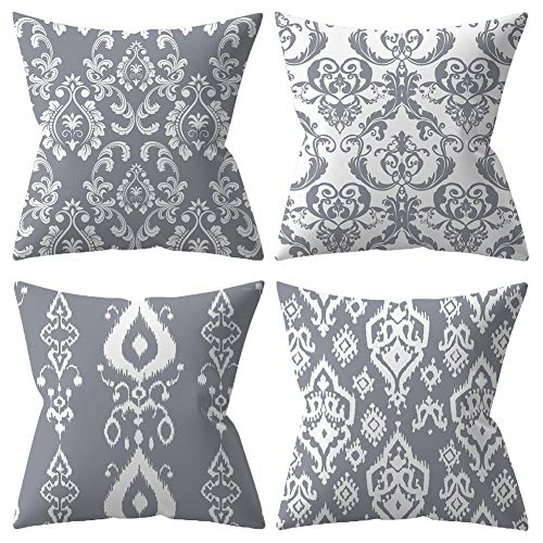 BCKAKQA Decorative Throw Pillow Covers Grey Mandala Cushion Covers 45cm x 45cm Soft Polyester Square Cushions for Living Room Sofa Couch Bed Pillowcases 18x18 inch Set of 4