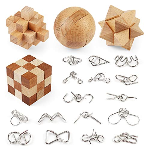 Brain Teasers Wooden and Metal Wire Puzzles 20Pcs Interlock 3D Brain Puzzle Games IQ Test Toys for Kids Adults
