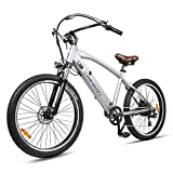 BRIGHT GG 500W Electric Bike Adult Electric Snow/Mountain/Beach/City Bike, 26' Electric Bicycle with Built-in 48v10ah Lithium-Ion Battery, Professional 6 Speed Gears Gray Ebike