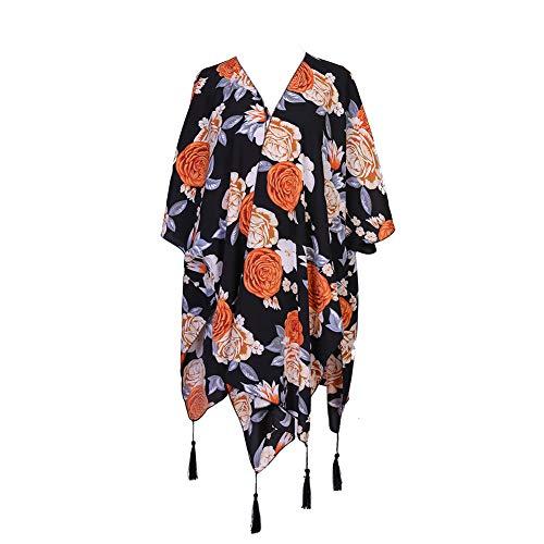 Ropa De Playa para Mujer Bikini Cubre con Estampado Floral Verano Kimono Rebeca Mantón Blusas Tops Estilo1 Talla única