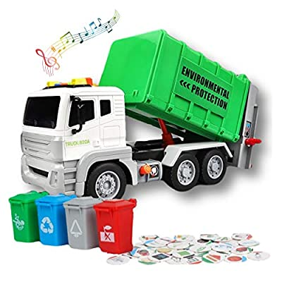 Garbage Truck Toys for Boys & Girls - Trash Truck Toys with Lights & Sounds Includes 4 Toy Garbage Cans, 40 Garbage Recycling Sorting Cards. Educational Toys for Toddlers & Kids Ages 3 4 5 6+