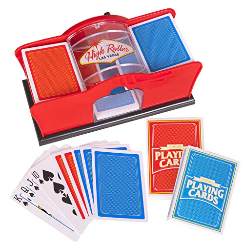 Deluxe Manual Card Shuffler (2-Deck) for Blackjack, Poker - Hand Crank Casino Card Shuffler Includes 2 Free Playing Card Decks
