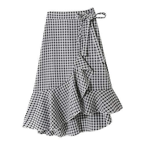 Short Skirt for Women High Waist Plaid Mid-Length Elastic Irregular Ruffle Fashion Skirt