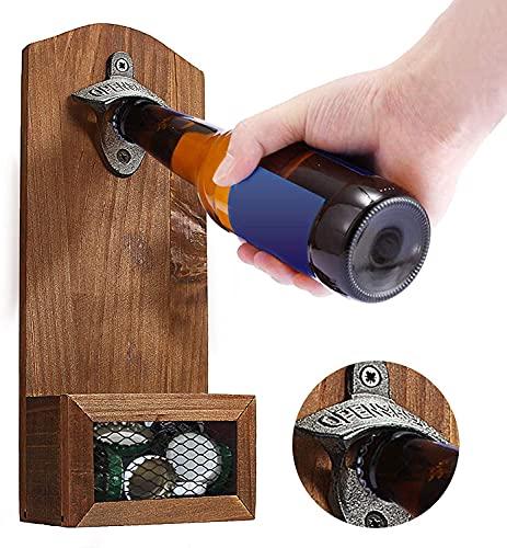 Cirdora Abridor de botellas para montaje en pared, con tapa y abridor de botellas de madera vintage, para bar, cocina, apartamento, terraza, regalo único de cerveza, regalos para hombres
