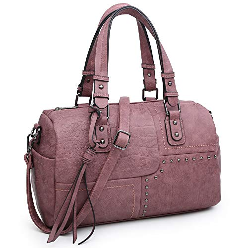 Dasein Women Soft Vegan Leather Barrel Bags Large Top Handle Totes Satchel Handbags Shoulder Purse (9554-purple)