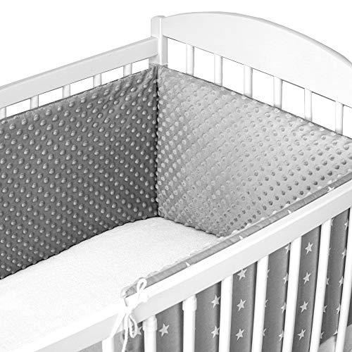 Bettumrandung Nestchen Babybett umrandungen - babybettumrandung Bettnestchen für Kinderbett Beistellbett Gitterbett umrandung (Weiß Sternen auf grau mit hellgrau Minky, 180 x 30 cm)
