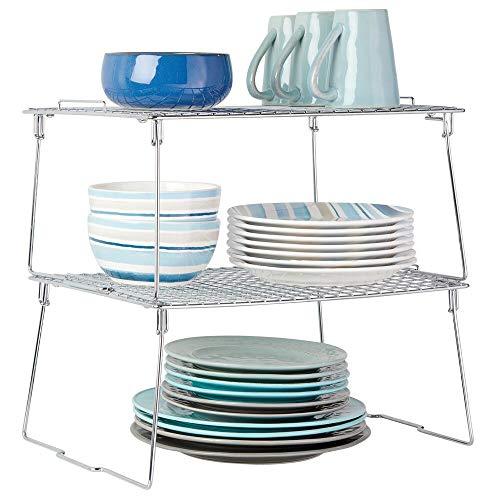 mDesign Juego de 2 estantes apilables para almacenaje de cocina – Repisa...