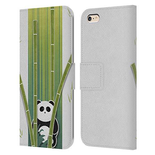 Head Case Designs Licenza Ufficiale Alyn Spiller Panda Bamboo Arte Animali Cover in Pelle a Portafoglio Compatibile con Apple iPhone 6 Plus/iPhone 6s Plus