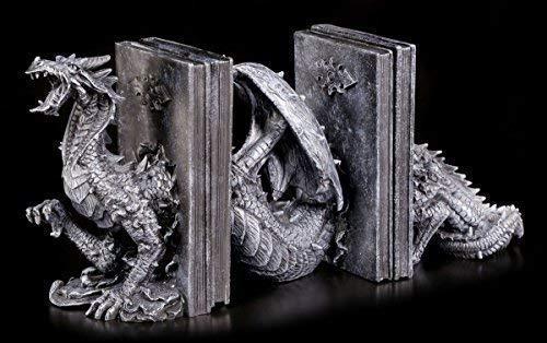 Figuren Shop GmbH Gotico Custodia per i Libri con Geschlängeltem Draghi Fantasy Statua Decorativa