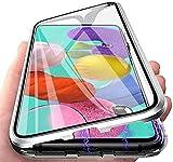 Orgstyle Hülle für Oppo Find X3 Neo/Reno 5 Pro+ 5G, Magnetische Hartglas Hülle mit Vorderseite & Rückseite, Metallrahmen Hülle mit Eingebaut Magnet, Ultra Dünn 360 Grad Handyhülle, Silber