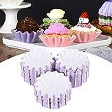 Taza para hornear pasteles, estuches para cupcakes, envoltorio para cupcakes para fiesta, cumpleaños, boda(Púrpura)