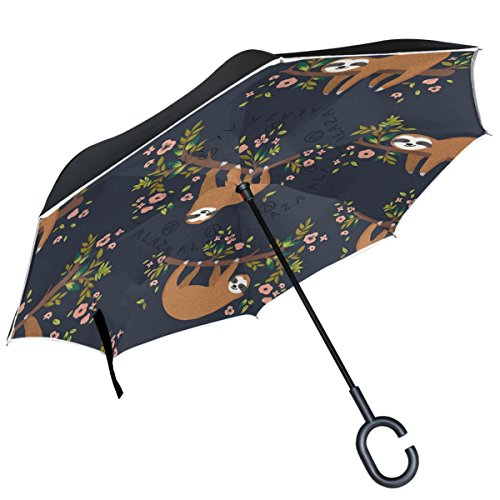 ALAZA Faultier Baum mit Blumen-in-Trend Double Layer Winddicht Regenschirm