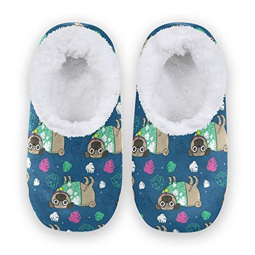 linomo Zapatillas de estar por casa unisex con diseño de perro carlino, para invierno, cálidas, para interior, para dormitorio, calcetines, color Multicolor, talla 34/36 EU