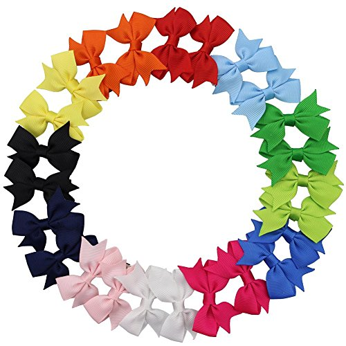 QtGirl 24pcs 2' Mini Pinwheel Pigtail Hair Bows with Alligator Clips Grosgrain Ribbon Hairbows for Baby Girls Toddlers Kids in Pairs