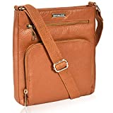 Leather Crossbody Purse for Women- Small Crossover Cross Body Bag Long Over the Shoulder Sling Womens Purses and Handbags (Tan Pebble)