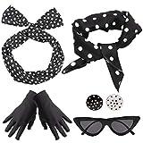 Yansion 50er Jahre Kostüm Accessoires Damen 1950s Zubehör Set Inklusive Polka Dots Bandana Haarband Ohrringe Handschuhe Katzenaugen Sonnenbrille Schal (Schwarz) -