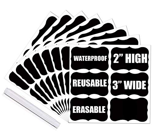 """Chalkboard Labels - 108 Premium Reusable Chalkboard Stickers with 1 White Chalk Marker for Labeling Mason Jars, Pantry, Spice, Kitchen Containers - Organize Your Home & Office (3"""" X 2"""")"""