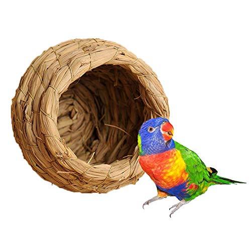 Nido para pájaros de paja natural tejido a mano para loros, guacamayos, periquito gris africano, nido de incubación, alimentación. También apto para hámsters, jerbos, cama para chinchillas