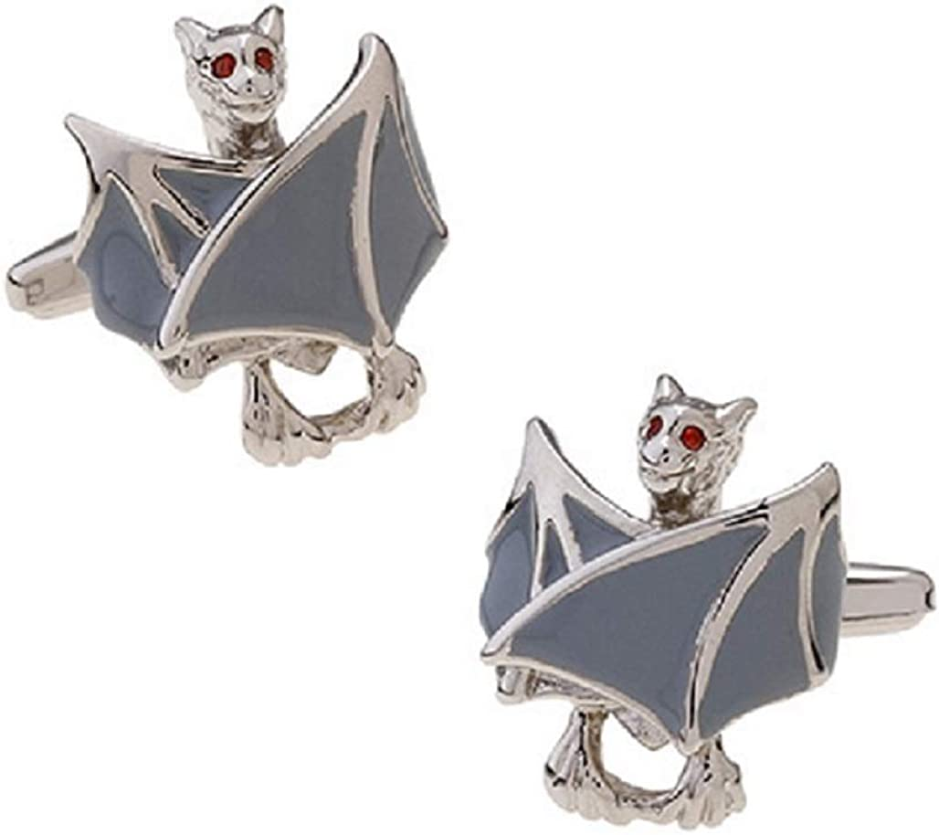 MRCUFF Bat Grey Wings Halloween Vampire Pair Cufflinks in a Presentation Gift Box & Polishing Cloth