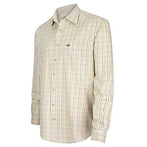 Hoggs of Fife Inverness Coton Tattersall Chemise - Marron/Or/Marine - Marron, XXX-Large