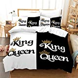 JOLEYCOR Black and White Duvet Cover Set King and Queen Bedding Set for Couple 3 Piece Romantic Valentine's Day Presents King Size 1 Duvet Cover 2 Pillow Cases