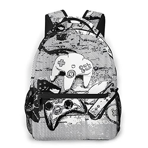 Kanxdecor Zaino casual,Collezione De Manettes - Collezione Joysticks, borsa da viaggio con cerniera, per affari, scuola, lavoro, borsa per laptop 16 'X11.5'X8'