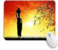 ECOMAOMI 可愛いマウスパッド 日没時の頭に鍋と地元の女性のパターンシルエット 滑り止めゴムバッキングマウスパッドノートブックコンピュータマウスマット