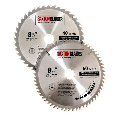 Saxton TCT Kreissägeblätter, 210 mm x 30 mm, für Festool Bosch, Makita, Dewalt, passend für 216 mm Sägen, 2 Stück
