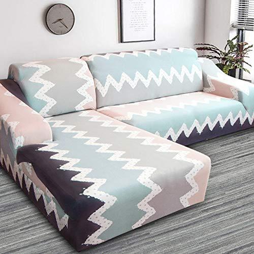 KTUCN Fundas de sofá de Esquina Impresas geométricas, para Sala de Estar Elastic Spandex Slipcovers Couch Cover, Color 6, 2seater and 4seater