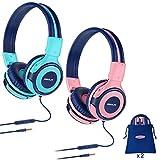 2 Sätze Kopfhörer Kinder mit Tragbar Etui, Kindersicherer Kopfhörer mit Begrenzter Lautstärke, Kabelgebundene Kopfhörer für Mädchen, Jungen, On-Ear Kinderkopfhörer für Schule, Reise Mint + Pink
