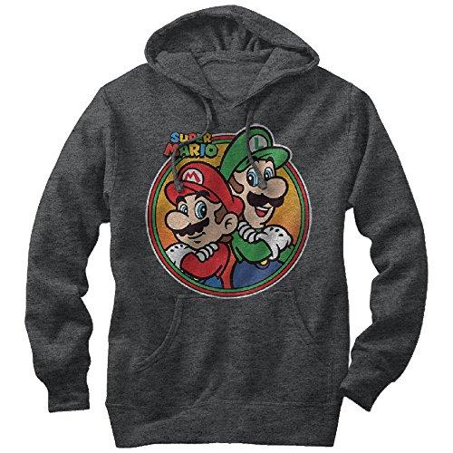 Nintendo Men's Mario Luigi Back to Back Charcoal Heather Hoodie