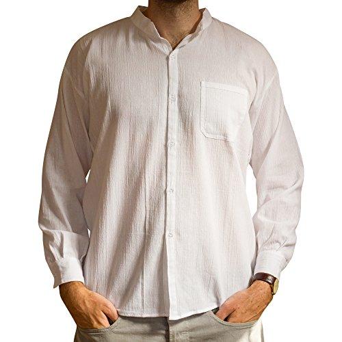 Tumia LAC Coton Grand-père Chemise. Manches Longues. Matière fraîche légère - Blanc - Taille XXL