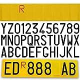 ShopGraf Targa Ripetitrice Catarinfrangente per Rimorchi,Roulotte e Carrelli con Lettere e Numeri Lettera R Rossa Inclusa