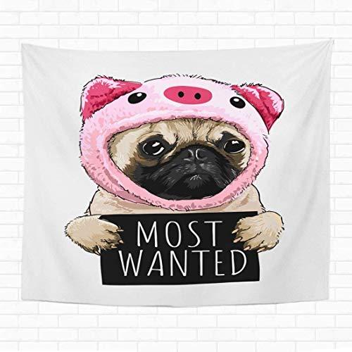N/A Home Dekorativer Wandteppich zum Aufhängen, Mops Hund im Schwein, Kostüm hält die meisten Wanted-Schilder, 152,4 x 203,2 cm, Wandteppich für Wohnheim, Wohnzimmer, Schlafzimmer
