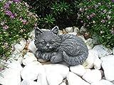 Steinfigur Katze Mini, 156/1 Gartenfigur Steinguss Tierfigur Basaltgrau