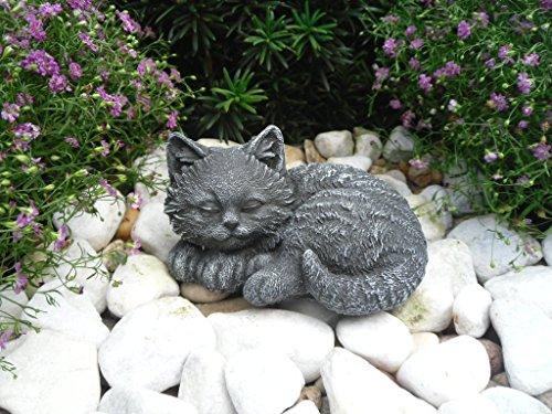 Steinfiguren Spicker Steinfigur Katze Mini, 156/1 Gartenfigur Steinguss Tierfigur Basaltgrau