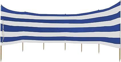 Idena Unisex - volwassenen windscherm ca. 800 x 80 cm, in blauw-wit, met draagriem en bevestigingsbanden, voor strand, cam...