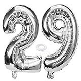 SNOWZAN Globo de 29 cumpleaños para niña, diseño de número 29, color plateado
