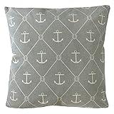 Grafelstein Kissen Seaside grau weiß mit Ankern und Tauen Hamptons chic maritim Long Island